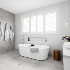 "Amber Tiles Seaforth on Instagram: ""Light and fresh, who doesn't love a bathroom full of light. We love the simplicity of this bathroom using one of our most popular tiles. 👌🏻"" Hampton Style Bathrooms, Grey Bathrooms, Modern Bathroom, Small Bathroom, Master Bathroom, Bathroom Showers, Bathrooms Online, Bathroom Bath, Bath Tub"