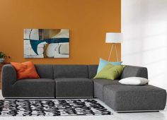 Modern affordable 4 piece fabric sectional and ottoman - Modern furniture seattle