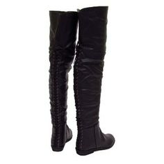 WOMENS OVER KNEE HIGH THIGH BOOTS BLACK FLAT LADIES BOHO PIRATE SIZE 6.5