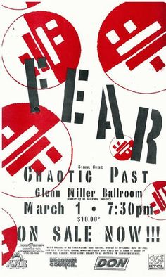 Original concert poster for Fear at the Glenn Miller Ballroom  in Boulder, CO.  11x16 thin glossy paper.