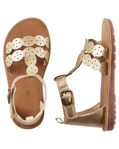Toddler Girl Carter's Metallic T-Strap Sandals | OshKosh.com