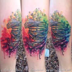 Books of Watercolor tattoo created by Jarris Vonzombie
