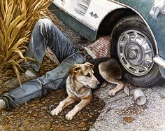 Shade Tree Mechanics By Janet Kruskamp   Original Paintings For Sale By The  Artist