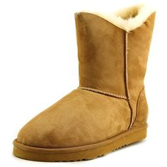 Koolaburra Double Halo Short Women Winter Boots ($55) ❤ liked on Polyvore featuring shoes, boots, ankle booties, brown, short boots, suede boots, short ankle boots, suede bootie and short brown boots
