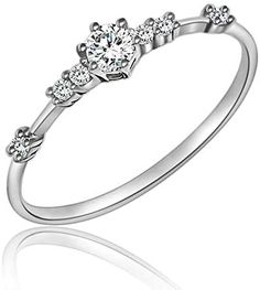 JESMING 7 Tiny Diamond Pieces of Exquisite Ring Stacking Rings for Women Small Fresh Style Ladies Cubic Zirconia Simulated Diamond Ring Jewelry   Gold Silver Rings for Women
