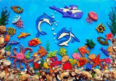 Картина панно рисунок Лепка Подводный мир Клей Ракушки Тесто соленое фото 1