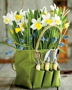 Daffodils and grape hyacinths- Spring has arrived Spring Has Sprung, Thank You Gifts, Hostess Gifts, Daffodils, Homemade Gifts, Gift Baskets, Spring Time, Teacher Gifts, Bunt
