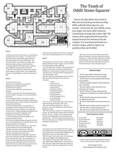 """""""The Tomb of Oddli Stone-Squarer"""", by Roger Carbol: """"Best Multiple Factions"""", 2012 One Page Dungeon contest organized by Alex Schroeder Fantasy Map, Medieval Fantasy, Map Maker, Pathfinder Rpg, Dungeon Maps, Dungeons And Dragons Homebrew, Tabletop Rpg, Environment Concept Art, Fantasy Inspiration"""