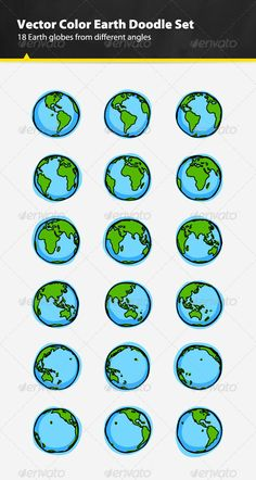 Color Earth Doodle Set #GraphicRiver 18 vector color Earth globe doodles from different angles set. You can scale them up or scale them down to suit your needs. Use them in your game, app, banner, animation or web design. I also included layered Photoshop file with smart objects. This file contains: 18 vector color Earth globe doodles from different angles 100% vector Layered objects AI, EPS and PSD files Recommended Items 9 Hand-Picked Logo Templates Of The Week ( more… ) Looking For…