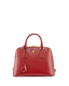 Prada Saffiano Vernice Mini Promenade Bag, Red (Scarlato)