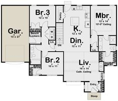 Cottage Plan: 1,507 Square Feet, 3 Bedrooms, 2 Bathrooms - 963-00380 Modern Cottage Style, Cottage Style House Plans, Cottage Plan, Cottage Style Homes, Small House Plans, House Floor Plans, Small Cottages, Garage Apartments, Roof Plan