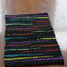 Black and Vibrant Rainbow Accent Twined Rag Recycled