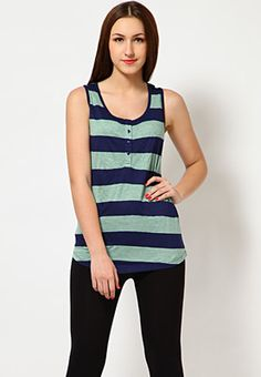 Blue coloured tank top for women from the house of Van Heusen. Made of viscose, this regular-fit, waist-length top is sleeveless and features a Hanley neckline.