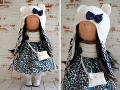 Snow doll Interior doll Home doll Art doll handmade blue white colors Tilda doll Soft doll Fabric doll Cloth doll by Master Olga S.   Hello, dear visitors!  This is handmade cloth doll created by Master Olga S. (Karaganda, Kazakhstan). Doll is 30 cm (12 inch) tall and made of only quality materials.  This doll is made TO ORDER. You will receive almost exact same toy. Any changes are made upon agreement between Master and Buyer.  If you want to change something in this doll, before ordering…