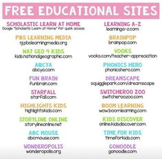 Free learning sites for kids Educational Websites For Kids, Learning Sites, Home Learning, Preschool Learning, Learning Resources, Teaching Kids, Preschool Curriculum, Educational Activities, Teaching Tools