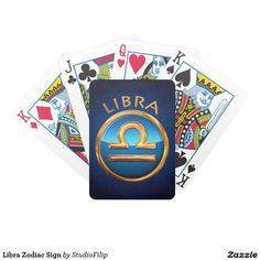 Libra Zodiac Sign Bicycle Playing Cards | 30% OFF Spooktacular Essentials: coasters, favor boxes, wine charms, serving trays, posters, tablecloths, table runners, plates, platters, packs of cake pops, packs of cookies, chocolate boxes, frosting rounds, invitations, greeting cards, photo cards, postcards, and/or cheese boards - USE Code ZSPOOKYSCARY | 15% Off All Other Zazzle Products. | Valid through October 8, 2015 at 12:59:59 PM PT