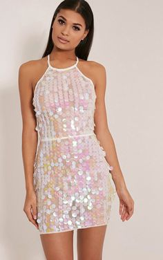 ef48cc7cb6cb Omaria White Sequin Backless Dress - Dresses - PrettylittleThing