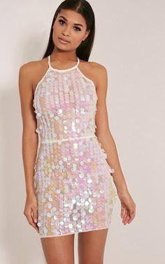 Omaria White Sequin Backless Dress - Dresses - PrettylittleThing | PrettyLittleThing.com