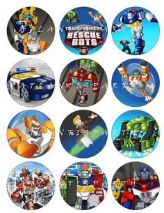 TRANSFORMERS RESCUE BOTS Cupcake Toppers Favor Tags - Diy Printable - Ct010