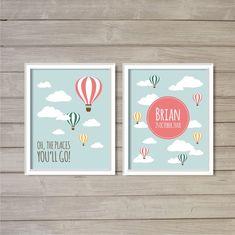 Hot Air Balloon Baby Name Nursery Printable - 8x10  - Sky Blue, Clouds, Digital Printable Poster, Print, Art, Download and Print JPEG Image