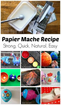 How to make Papier Mache Paste. DIY Homemade Paper Mache with flour and water. paper mache recipe homemade How to make Paper Mache Paste from Flour - Red Ted Art - Make crafting with kids easy & fun Paper Mache Volcano, Paper Mache Pinata, Paper Mache Balloon, Paper Mache Diy, Paper Mache Paste, Making Paper Mache, Paper Mache With Glue, Paper Mache Head, Paper Mache Sculpture