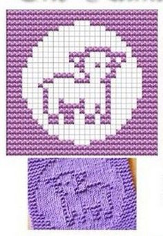 Purple blocks are knit both sides ( garter stitch ). White squares are stocking stitch. Start with No pattern on link. Knitted Squares Pattern, Knitting Squares, Dishcloth Knitting Patterns, Crochet Dishcloths, Knitting Charts, Knitting Stitches, Knit Patterns, Baby Knitting, Stitch Patterns
