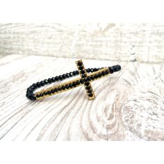 Black Swarovski Cross Bracelet  gold frame faith by LoveMyssa