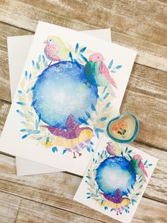 Greeting card  + matching tag Whimsical birdies watching over our world Watercolor Cards, Watercolor Print, Watercolor Illustration, Matching Gifts, Sell On Etsy, White Envelopes, Autumn Leaves, Note Cards, I Card