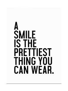 "Juniqe® Motivation Typografie & Symbole Leinwandbild - Design ""A Smile is The Prettiest"" entworfen von Honeymoon Hotel Smile Quotes, Happy Quotes, Words Quotes, Sayings, Positive Vibes, Positive Quotes, Motivational Quotes, Inspirational Quotes, The Words"