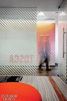 Velti HQ Office. Panels of fritted glass can unfold to enclose the boardroom at Velti. Love the graphic look with lots of privacy.