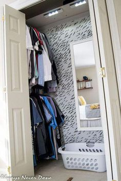 make the most out of a small closet bedroom ideas closet organizing painting Small Master Closet, Tiny Closet, Walk In Closet, Double Closet, Closet Doors, Closet Mirror, Small Closet Storage, Entryway Closet, Attic Storage