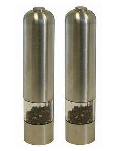Electric Salt & Pepper Grinder Set Brushed Stainless Steel Battery Operated Food #Kalorik