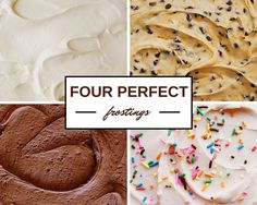 These are the BEST frostings for Cake & Cupcakes! ~ Cream Cheese Frosting, Chocolate Chip Cookie Dough Frosting, Whipped Chocolate Buttercream Frosting, and Cherry Buttercream ~ I Am Baker