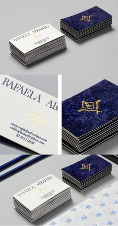 Creative Textured Royal Blue Velvet And Gold Business Card For A Fashion Blogger