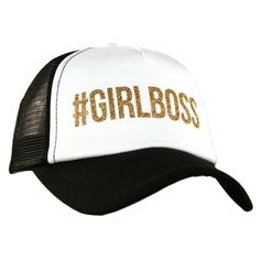 2ba7d4ad0f3  GirlBoss Trucker Hats Adjustable Tab Back with Mesh Trucker Style with Curved  Bill Gold Glitter