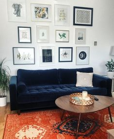 Finished the gallery wall 😍 And loving my new Sven Velvet Sofa! Apartment is slowly coming together 😁 Blue Velvet Sofa Living Room, Boho Living Room, Living Room Sofa, Living Room Decor, Navy Blue Velvet Sofa, Royal Blue Couch, Dark Blue Couch, Navy Couch, Living Room Color Schemes