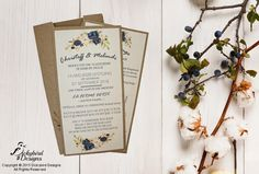 Rustic Invitation with Blue Floral Design Rustic Invitations, Wedding Invitations, Rustic Wedding, Floral Design, Blue, Floral Patterns, Wedding Invitation Cards, Wedding Invitation, Wedding Announcements