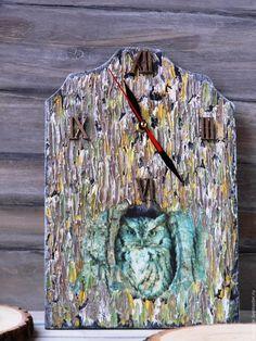"""Купить Часы настенные """"Сова в дупле"""" - комбинированный, часы, часы настенные, часы интерьерные"""