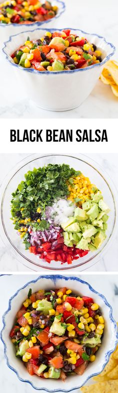 Delicious black bean salsa filled with corn, tomatoes, peppers, avocados, lime juice and fresh cilantro. An appetizer everyone loves!