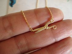 Side ways Gold scissors necklace...cute minimalist simple everyday hair stylist jewelry, gifts for seamstress, hair dresser on Etsy, $16.00