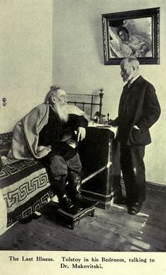 Leo Tolstoy in his bedroom talking to doctor Dushan Makovitsky who was Tolstoy's personal physician for six years and created a unique document a daily dairy of the writer's conversations activities and health. Russian Literature, Henry Miller, Vintage Medical, Writers And Poets, People Of Interest, Russian Art, Ukraine, Back In The Day, Famous People