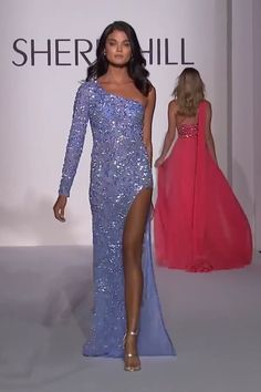 Sherri Hill Evening Dress Stunning Embellished Purple One Shoulder Slit Sheath Evening Maxi Dress / Evening Gown with One Long Sleeve. Spring Summer 2019 Runway Collection by Sherri Hill on FF Channel Homecoming Dresses Tight, Tight Dresses, Formal Dresses, Prom Gowns, Sexy Dresses, Wedding Dresses, Gala Dresses, Couture Dresses, Dress Outfits