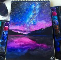 Galaxy Painting By _ Galaxie-Malerei von _ Galaxy Painting, Galaxy Art, Art Galaxie, Wow Art, Cool Drawings, Galaxy Drawings, Drawing Sketches, Drawing Ideas, Painting Inspiration