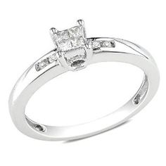 Sterling Silver 1/8 CT TDW Princess White Diamond Engagement Ring (G-H, I2-I3)