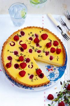 This custard tart recipe is, quite possibly, one of the most joyful desserts ever invented. The subtle hint of thyme sits beautifully beside the tangy fruit. A winner.