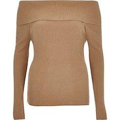 Beiger, langärmeliger Bardot-Pullover