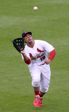 St. Louis Cardinals left fielder Jon Jay catches a fly ball off the bat of Yangervis Solarte in fourth inning action during a game between t...