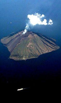 Stromboli island and its active volcano (Aeolian Islands), Sicily, Italy