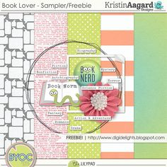 Quality DigiScrap Freebies: Book Lover mini kit freebie from Kristin Aagard Designs