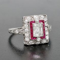 A Brandt and Son - Edwardian Platinum Diamond & Ruby Ring 1.03ctw